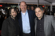 """(L-R) Director Peter Jackson, Vice Chairman of Paramount Pictures Rob Moore and President Paramount Film Group Adam Goodman arrive at the premiere of Paramount Pictures' """"The Lovely Bones"""" at Grauman's Chinese Theatre on December 7, 2009 in Hollywood, California."""