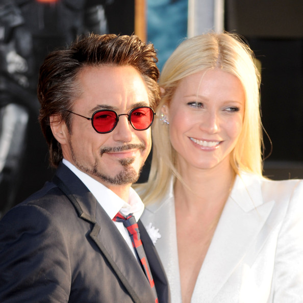 """Actors Robert Downey Jr. (L) and Gwyneth Paltrow arrive at the world premiere of Paramount Pictures & Marvel Entertainment's """"Iron Man 2"""" held at the El Capitan Theatre on April 26, 2010 in Hollywood, California."""