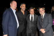 """(L-R) Paramount's Rob Moore, actor George Clooney, CEO of Paramount Pictures Brad Grey, and DreamWork's Adam Goodman arrive at the premiere of Paramount Pictures' """"Up In The Air"""" held at Mann Village Theatre on November 30, 2009 in Westwood, California."""