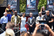 Ron Meyer, Vice Chairman, NBCUniversal, actor Tyrese Gibson, actress Michelle Rodriguez, Larry Kurzweil, President & COO Universal Studios Hollywood, actor Jason Statham and actor Vin Diesel attend the premiere press event for the new Universal Studios Hollywood Ride