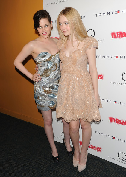 "Actors Kristen Stewart and Dakota Fanning attend the premiere of ""The Runaways"" at Landmark Sunshine Cinema on March 17, 2010 in New York City."