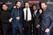 "(L-R) O'Shea Jackson Jr., Pablo Schreiber, Christian Gudegast, 50 Cent and Gerard Butler attend the premiere of STX Films' ""Den of Thieves"" at Regal LA Live Stadium 14 on January 17, 2018 in Los Angeles, California."
