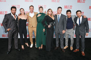 "(L-R) Sam Medina, Ronda Rousey, Peter Berg, Lauren Cohan, CL, Mark Wahlberg, Iko Uwais and Carlo Alban attend the premiere of STX Films' ""Mile 22"" at Westwood Village Theatre on August 9, 2018 in Westwood, California."