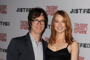 Musician Ben Folds and actress Alicia Witt attend the season 5 premiere screening of FX's 'Justified' at the DGA Theater on January 6, 2014 in Los Angeles, California.