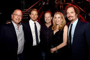 "(L-R) Michael Brochstein, SVP, Ad Sales, FX Networks, actor Charlie Hunnam, John Landgraf, CEO, FX Network, his wife actress Ally Walker and actor Kim Coates pose at the after party for the season 7 premiere screening of FX's ""Sons of Anarchy"" at the Avalon on September 6, 2014 in Los Angeles, California."