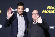 """David Caspe and Jordan Cahan attend the premiere of Showtime's """"Black Monday"""" at The Theatre at Ace Hotel on January 14, 2019 in Los Angeles, California."""