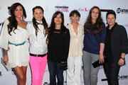 """(L-R) TV personalities Sara Bettencourt and Whitney Mixter, executive producers Jane Lipsitz and Ilene Chaiken and TV personalities Cori Boccumini and Kacy Boccumini attend the premiere of Showtime's """"The Real L World"""" Season 3 at Revolver on July 17, 2012 in West Hollywood, California."""