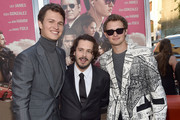 """Actor Ansel Elgort, director Edgar Wright and Warren Elgort attend the premiere of Sony Pictures' """"Baby Driver"""" at Ace Hotel on June 14, 2017 in Los Angeles, California."""