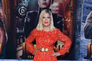 "Tori Spelling attends the premiere of Sony Pictures' ""Jumanji: The Next Level"" at TCL Chinese Theatre on December 09, 2019 in Hollywood, California."