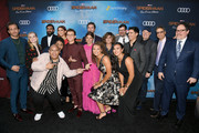 "(L-R) Jake Gyllenhaal , Numan Acar, Jacob Batalon, Tony Revolori, Zendaya, Tom Holland, Marisa Tomei, Jon Watts, Amy Pascal, Eric Carroll, Remy Hii, Kevin Feige, Chairman of Sony Pictures Entertainment Tom Rothman, and Jon Favreau attend the premiere of Sony Pictures' ""Spider-Man Far From Home"" at TCL Chinese Theatre on June 26, 2019 in Hollywood, California."