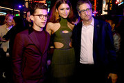 """(L-R) Tom Holland, Zendaya and Tom Rothman pose at the after party for the premiere of Sony Pictures' """"Spider-Man: Far From Home"""" on June 26, 2019 in Hollywood, California."""