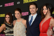 (L-R) Actors Vanessa Hudgen, Ashley Benson, James Franco, and Selena Gomez attend the 'Spring Breakers' Los Angeles Premiere at ArcLight Hollywood on March 14, 2013 in Hollywood, California.