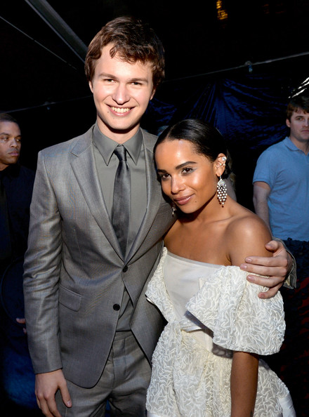 "Actor Ansel Elgort (L) and actress Zoe Kravitz pose at the after party for the premiere of Summit Entertainment's ""Divergent"" at The Armand Hammer Museum on March 18, 2014 in Los Angeles, California."