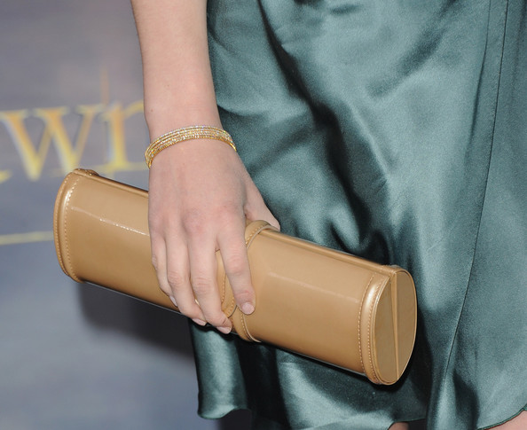 """Actress Jacqueline Emerson (clutch detail) arrives at the premiere of Summit Entertainment's """"The Twilight Saga: Breaking Dawn - Part 2"""" at Nokia Theatre L.A. Live on November 12, 2012 in Los Angeles, California."""