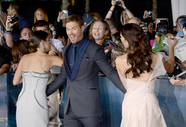 """(L-R) Actors Nikki Reed, Kellan Lutz, and Ashley Greene arrive at the premiere of Summit Entertainment's """"The Twilight Saga: Breaking Dawn - Part 2"""" at Nokia Theatre L.A. Live on November 12, 2012 in Los Angeles, California."""