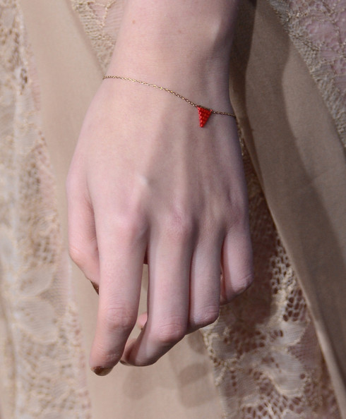 "A jewelry detail of Kristen Stewart as she arrives at the premiere of Summit Entertainment's ""The Twilight Saga: Breaking Dawn Part 2"" at Nokia Theatre L.A. Live on November 12, 2012 in Los Angeles, California."