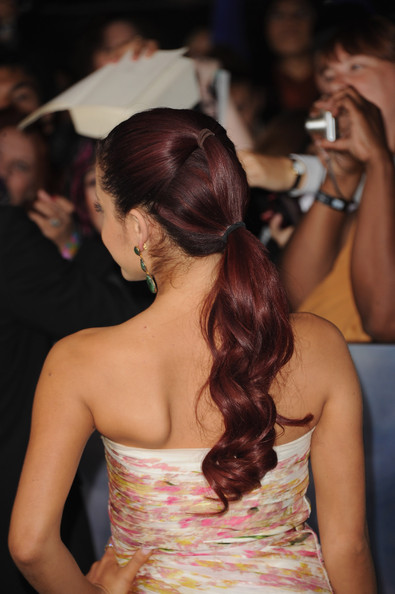 """Actress Ariana Grande (hair detail) arrives at the premiere of Summit Entertainment's """"The Twilight Saga: Breaking Dawn - Part 2"""" at Nokia Theatre L.A. Live on November 12, 2012 in Los Angeles, California."""