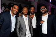 "(L-R) Actors Laz Alonso, Romeo Miller, DeRay Davis and Mike Epps pose at the after party for the premiere of TriStar Pictures' ""Jumping The Broom"" at Boulevard3 on May 4, 2011 in Los Angeles, California."