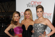 "(L-R) Actors Leslie Mann, Cameron Diaz and Kate Upton attend the premiere of Twentieth Century Fox's ""The Other Woman"" at Regency Village Theatre on April 21, 2014 in Westwood, California."