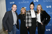 "(L-R) Bill McGoldrick, Bonnie Hammer, Jessica Biel, and Dawn Olmstead arrive at the Premiere of USA Network's ""The Sinner"" Season 3 at The London West Hollywood on February 03, 2020 in West Hollywood, California."