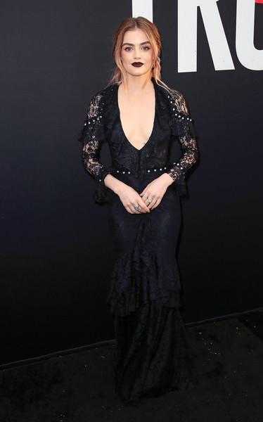 Lucy Hale went for goth glamour in a low-cut black lace gown by Monique Lhuillier at the premiere of 'Blumhouse's Truth or Dare.'