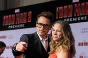 "Actor Robert Downey Jr. (L) and Susan Downey arrive at the premiere of Walt Disney Pictures' ""Iron Man 3"" at the El Capitan Theatre on April 24, 2013 in Hollywood, California."