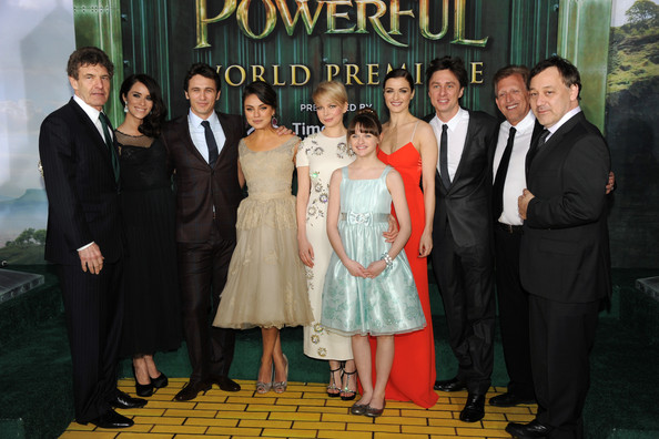 "(L-R)  Walt Disney Studios Chairman Alan Horn, actors Abigail Spencer, James Franco, Mila Kunis, Michelle Williams, Joey King, Rachel Weisz, Zach Braff, Producer Joe Roth and Director Sam Raimi attend the world premiere of Walt Disney Pictures' ""Oz The Great And Powerful"" at the El Capitan Theatre on February 13, 2013 in Hollywood, California."