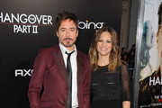 Actor Robert Downey Jr. and Susan Downey arrive at the premiere of Warner Bros.