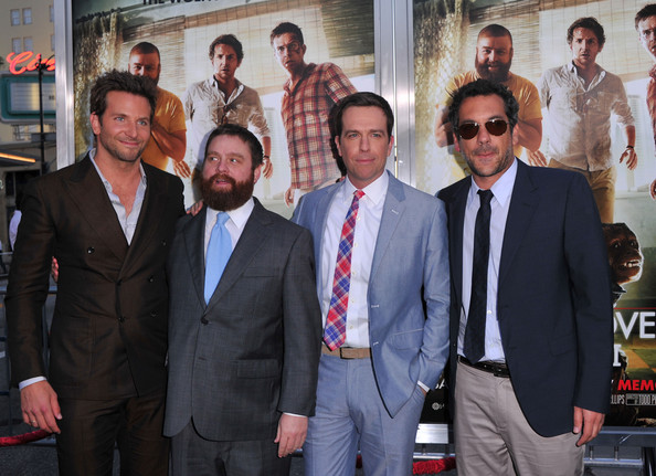 "(L-R) Actors Bradley Cooper, Zach Galifianakis, Ed Helms, and director Todd Phillips arrive at the premiere of Warner Bros. ""The Hangover Part II""  held at Grauman's Chinese Theatre on May 19, 2011 in Los Angeles, California."