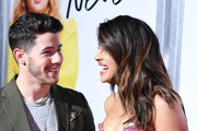 Priyanka Chopra and Nick Jonas attend the premiere of  Isn't It Romantic at The Theatre at Ace Hotel on February 11, 2019 in Los Angeles, California.