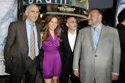 """(L-R) Warner Bros. Kevin McCormick, producer Susan Downey, Warner Bros. Jeff Robinov and producer Joel Silver pose at the premiere of Warner Bros. Pictures' """"Whiteout"""" at the Village Theater on September 9, 2009 in Los Angeles, California."""