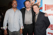 (L-R) Actors David Alan Grier, director Mike Disa and actor Martin Short attend the HOODWINKED TOO! HOOD vs EVIL Premiere Hosted by Heidi Klum, Maurice Kanbar and Harvey Weinstein at the Pacific Theaters at The Grove on April 16, 2011 in Los Angeles, California.