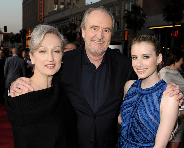 "(L-R) Iya Labunka, director Wes Craven, and actress Emma Roberts arrive at the premiere of The Weinstein Company's ""Scream 4"" held at Grauman's Chinese Theatre on April 11, 2011 in Hollywood, California."