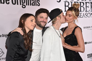 """(L-R) Allison Kaye, Michael D. Ratner, Justin Bieber and Hailey Rhode Bieber attend the premiere of YouTube Original's """"Justin Bieber: Seasons"""" at Regency Bruin Theatre on January 27, 2020 in Los Angeles, California."""