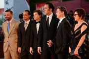 (L-R) Producer Christopher Woodrow, actors Ronie Gene Blevins, Tye Sheridan, Nicolas Cage, Director David Gordon Green wears (not seen) the Jaeger-LeCoultre Memovox watch and producer Lisa Muskat at the 'Joe' Premiere during the 70th Venice Film Festival at the Palazzo del Cinema on August 30, 2013 in Venice, Italy.