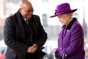 South African President Jacob Zuma smiles as he greets HM Queen Elizabeth II during a ceremonial welcome on Horseguards Parade on March 3, 2010 in London, England. The South African Leader is on a three day State visit to Britain.