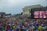 "President Donald Trump speaks on July 04, 2019 in Washington, DC. President Trump is holding a ""Salute to America"" celebration on the National Mall on Independence Day this year with musical performances, a military flyover, and fireworks."