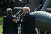 """U.S. President Donald Trump (R) and Sen. Roy Blunt (R-MO) prepare to board Marine One on the South Lawn of the White House August 30, 2017 in Washington, DC. Trump is taking a day trip to Springfield, Missouri, to participate in a """"tax reform kickoff event,"""" according to the White House."""