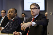 (AFP OUT) U.S. Secretary of Energy Rick Perry (R) and U.S. Secretary of Housing and Urban Development Ben Carson (L) attend the 2018 Hurricane Briefing at the Federal Emergency Management Agency Headquarters on June 6, 2018 in Washington, DC.