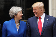 British Prime Minister Theresa May and US President Donald Trump arrive at 10 Downing street for a meeting on the second day of the U.S. President and First Lady's three-day State visit on June 4, 2019 in London, England. President Trump's three-day state visit began with lunch with the Queen, followed by a State Banquet at Buckingham Palace, whilst today he will attend business meetings with the Prime Minister and the Duke of York, before travelling to Portsmouth to mark the 75th anniversary of the D-Day landings.