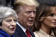 (L-R) British Prime Minister Theresa May, U.S. President Donald Trump and U.S. First Lady Melania Trump pose outside 10 Downing Street on June 4, 2019 in London, England. President Trump's three-day state visit began with lunch with the Queen, followed by a State Banquet at Buckingham Palace, whilst today he will attend business meetings with the Prime Minister and the Duke of York, before travelling to Portsmouth to mark the 75th anniversary of the D-Day landings.