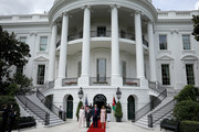 U.S. President Donald Trump and first lady Melania Trump (R) welcome King Abdullah of Jordan and Queen Rania (L) to the White House June 25, 2018 in Washington, DC. Trump and Abdullah are expected to discuss a range of bilateral issues during the KingÕs visit to the White House.
