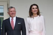 King Abdullah II and Queen Rania of Jordan on their arrival at the South Portico of the White House on June 25, 2018 in Washington, DC.