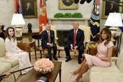 U.S. President Donald Trump and first lady Melania Trump meet with King Abdullah II and Queen Rania of Jordan in the Oval Office of the White House on June 25, 2018 in Washington, DC.
