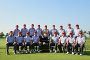 (Top row L-R) Patrick Reed, Bill Haas, Dustin Johnson, Jimmy Walker, Jay Haas, Chris Kirk, J.B. Holmes, Davis Love III, Fred Couples, (bottom row L-R) Jim Furyk, Zach Johnson, Bubba Watson, Matt Kuchar, Jordan Spieth, Phil Mickelson, Rickie Fowler and Steve Stricker of the United States team pose for a team photo prior to the start of The Presidents Cup at the Jack Nicklaus Golf Club on October 6, 2015 in  Incheon City, South Korea.