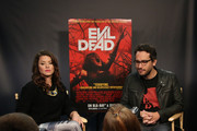 """Personality Camille Ford (L) and director Fede Alvarez attend the press Q&A of """"Evil Dead"""" at the Movies On Demand Lounge during Comic-Con International 2013 at Hard Rock Hotel San Diego on July 20, 2013 in San Diego, California."""