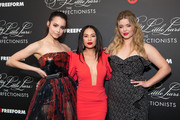 Sofia Carson, Janel Parrish and Sasha Pieterse arrive at the 'Pretty Little Liars: The Perfectionists' premiere at Hollywood Athletic Club on March 15, 2019 in Hollywood, California.
