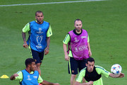 Andres Iniesta and Daniel Alves Photos Photo