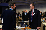 Grand Duke Henri of Luxembourg (R) talks to Prince Frederik of Denmark as they attend the International Olympic Committee (IOC) meeting ahead of the Sochi 2014 Winter Olympics at the Radisson Blu hotel on February 5, 2014 in Sochi, Russia.
