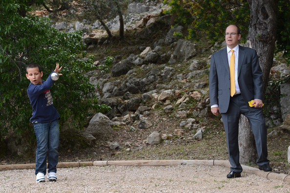 Prince Albert II of Monaco visits the Les Devens Leisure centre at La Turbie on May 9, 2012 in Monaco, Monaco.